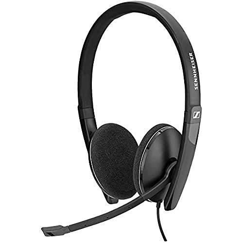 Sennheiser PC 5.2 CHAT, Auriculares con cable para juegos casuales, aprendizaje electrónico, micrófono con cancelación de ruido, control de llamadas, micrófono plegable: conector de jack 4 plug