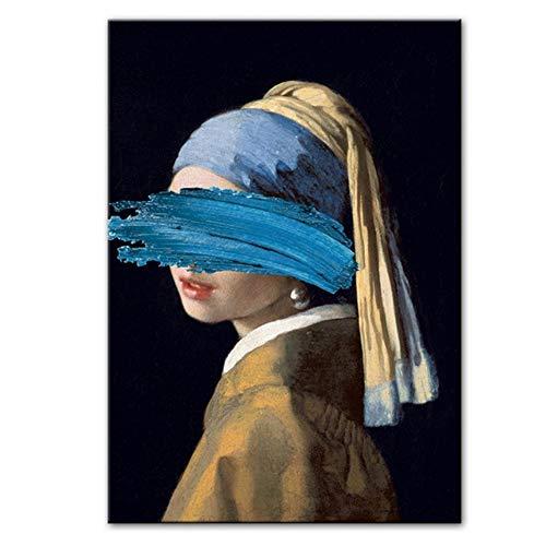 ASLKUYT Das Mädchen mit dem Perlenohrring Leinwandbilder Berühmte Gemälde Kunstwerk von Jon Pop Art Druckt Wandbilder für Home-20x32 IN No Frame