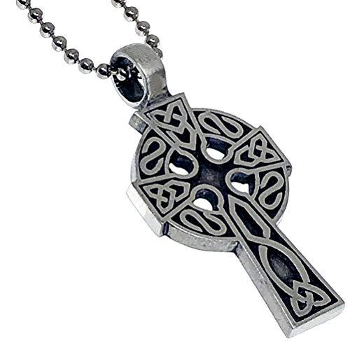 Norse Celtic Jewelry Solar Cross Pewter Unisex Women's Men's Pendant Necklace Charm Amulet for men w Silver Ball Chain