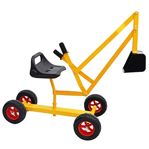 Hand-Mart Ride On Sand Digger with Wheels, Sandbox for Kids, Play Toy Excavator Crane with 360° Rotatable Seat for Sand, Snow and Dirt, Heavy Duty...