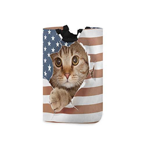 QMIN Wäschekorb mit USA-Flagge, Katze, Tiere, faltbar, große Aufbewahrungstasche mit Handgriff, faltbar, hoch Organizer für Kleidung