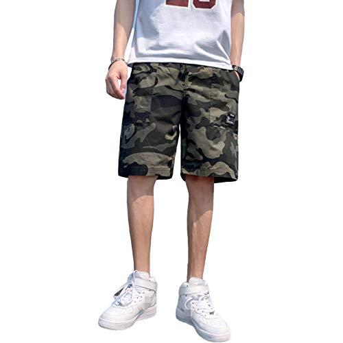 Pantalones Rectos de Cintura Media de Verano para Hombre, Estampado de Camuflaje Retro, Tendencia, Pantalones Cortos cómodos Casuales de Gran tamaño Sueltos XL