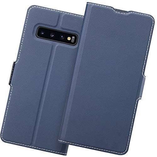 Holidi Samsung S10 Plus Funda, Funda Samsung S10 Plus Libro, S10 Plus Carcasa con Cierre Magnético, Tarjetero, Suporte, Capa S10 Plus Plegable Cartera, Flip Cover Case, Tipo Étui Piel Protección. Azul