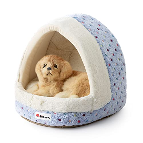Tofern Colorful Dots Patterns Striped Cute Pet Fleece Bed Puppy Small Medium Dog Cat Sleeping Igloo...