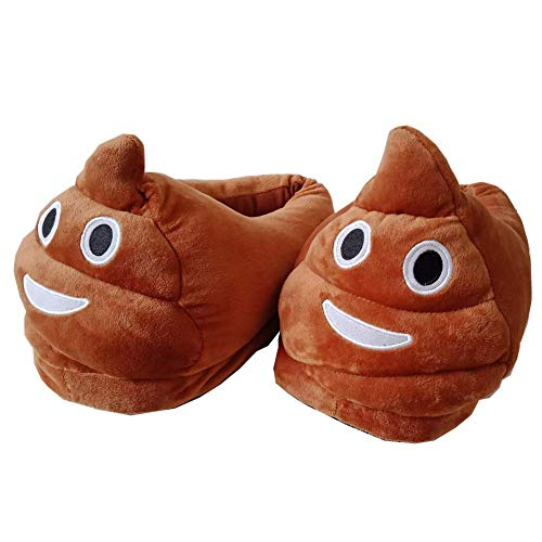 CHENYANG Poop Emoji Slippers Plush Funny Stuff Fluffy Slipper Anti Slip Cute Cartoon House Shoes Unisex for Women Men Kids Brown, IN