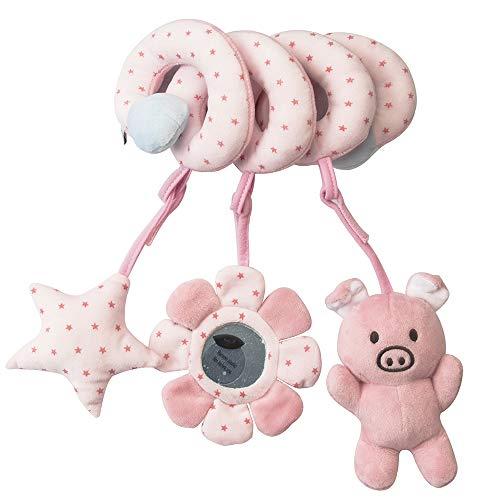 JINJIANG Juguetes Colgantes Espiral de Animales para Bebé Infantil Juguete Colgando en la Cuna con Peluches Coloridos Espirales para Cochecito Carrito niños niñas (Cerdo Rosa)