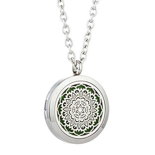 JOYMIAO Aroma Essential Oil Diffuser Hollow Flower Locket Pendant 316L Stainless Steel Magnetic Necklace Jewelry with 8 Pads Boys Girls Gifts