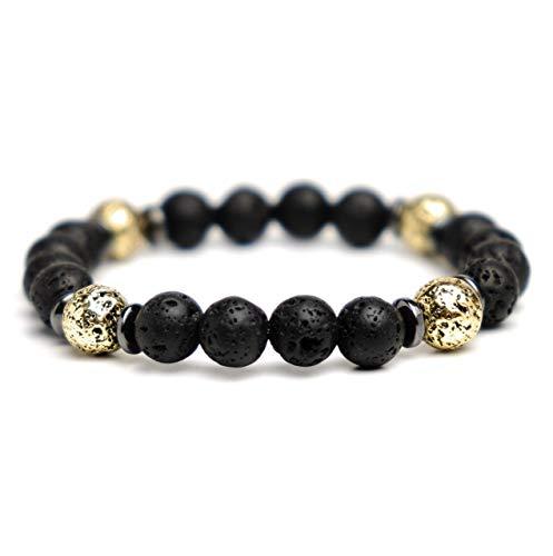 LUCIL® - SOUL - Armband Lavastein Hämatit 18 cm Farbe: schwarz und gold