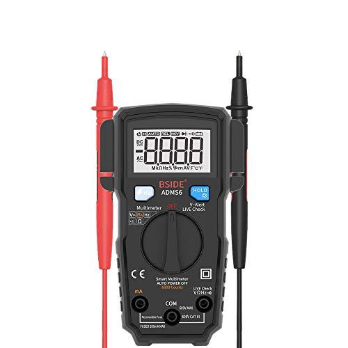 IDES Smart Digital-Multimeter Auto Range 6000 Zählt DC/AC Spannung Tester DMM Automatische ohm Hz V- Alarm Test,Black