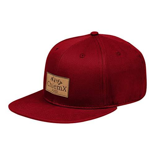 ChiemX Snapback Cap - Rot/Weinrot/Dunkelrot - aus Baumwolle und mit Kunstlederpatch - One Size Kappe für Herren und Damen