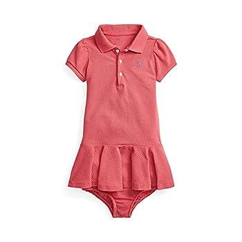 Polo Ralph Lauren Baby Girl Mesh Polo Dress & Bloomer 2 Piece Set  Nantucket Red 534085 /Blue 3 Months