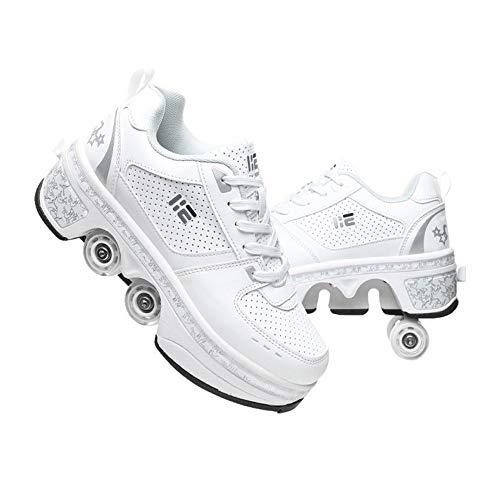 KUXUAN Zapatos Multiusos 2 En 1,Doble Rodillo Zapatos De Skate Zapatos Invisible De Polea De Zapatos Zapatillas De Deporte Luz Zapatos,White-42EU/UK7.5