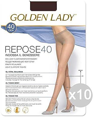 Golden Lady Set 10 Repose 40 CastGold 2 Strümpfe für Damen und Herren, Mehrfarbig, 10 Stück