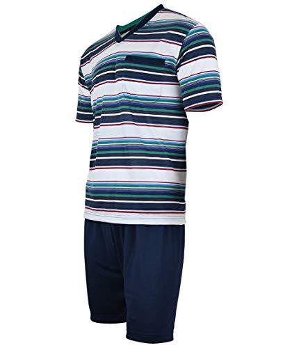 Soltice Herren Zweiteiliger Schlafanzug, Kurze Pyjama im Set, Gestreifte Nachtwäsche aus 100{adee225a6919a886b77c6f8e94ab523f4158bdc0a6ee496d20b261d1d010aae8} Baumwolle (M bis 5XL) (L, [M1] Navy)