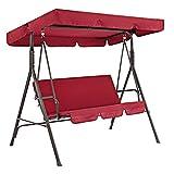 set di copertura per dondolo da patio formato da copertura superiore di ricambio e copertura per cuscino del dondolo a 3 posti, impermeabile, copertura parasole, rosso