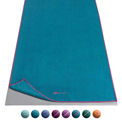 Gaiam Yoga Mat Towel, Vivid Blue/Fuchsia