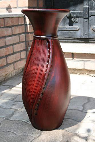BODENVASE 60 cm hoch aus Keramik - sehr hochwertig handgefertigt aus Portugal - Große Vase mit 3D Oberflächenstruktur - NEU- Bordeaux Rot- Deko-Vase- eine schöne Geschenkidee INKL. Vaseneinsatz