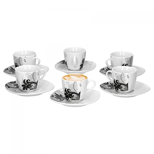 6er Set Espressotasse mit Untertasse Black Flower