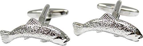 David Van Hagen Poissons de saumon argenté boutons de manchette de