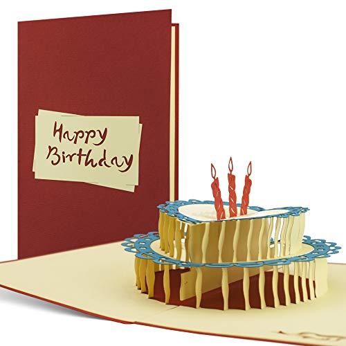 Geburtstagskarte edel und elegant I Glückwunschkarte I Karte zum Geburtstag I Geburtstagstorte mit Kerzen I Pop Up Karte 30 40 50 60 G05