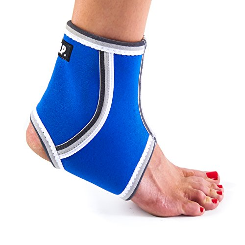 Black Mountain Products Breathable Lightweight Neoprene Ankle Brace/Ankle Compression Sleeve, Blue, Large