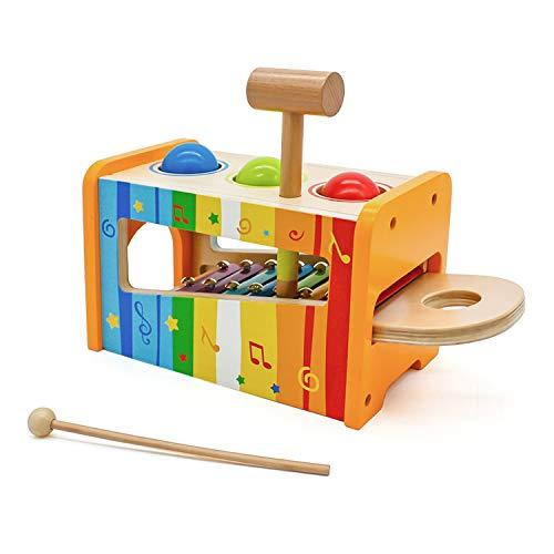 Cuddlez Xylophon und Hammerspiel – Kinder Klopfbank aus Holz mit 8 Noten, 3 Kugeln, Hammer und Schlägel, interaktives Hammerspielzeug als Musikinstrument und Lernspielzug für Babys und Kinder