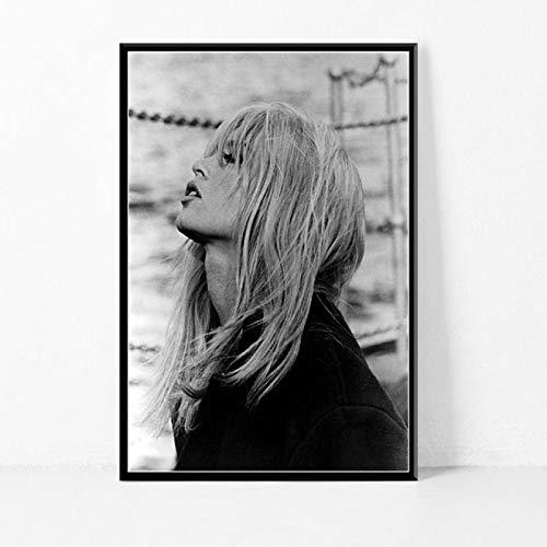 Pozino Lona Pared Arte Estrella de Cine Brigitte Bardot póster en Blanco y Negro Dormitorio sofá Pared casa Arte decoración Imagen 60x90cm
