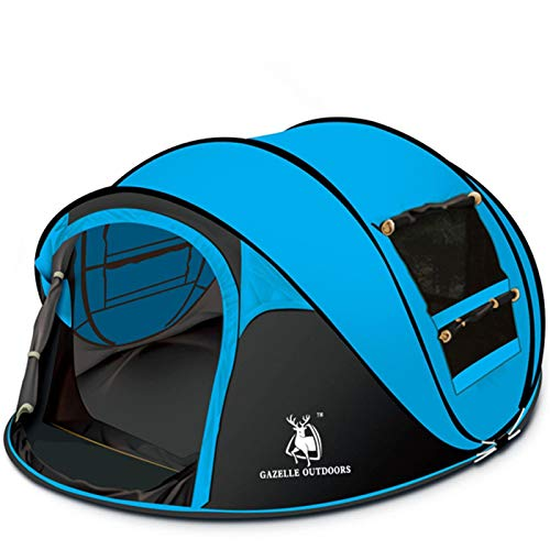 NGDDGS Automatic Tent Outdoor Camping Hand Throw Quick-opening High-grade Leisure Tent 3-4 Person Family Party Beach Boat-type Tent (Color : Blue)