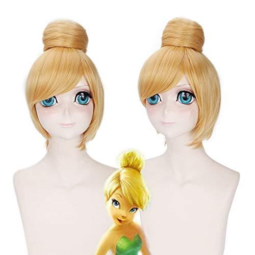 GHK Fairy Prinses Tinker Bell Cosplay Pruik Blonde Korte Synthetisch Haar Anime Halloween Kostuum Party Pruiken Peruca