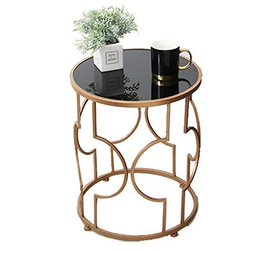 TONG HXF- Pequeña Mesa de Centro de Hierro Forjado Mesa de café Redonda apartamento sofá Mesa de té Sala de Estar Mesa de Cristal geométrica Simple Durable (Size : 48 * 48.5cm)