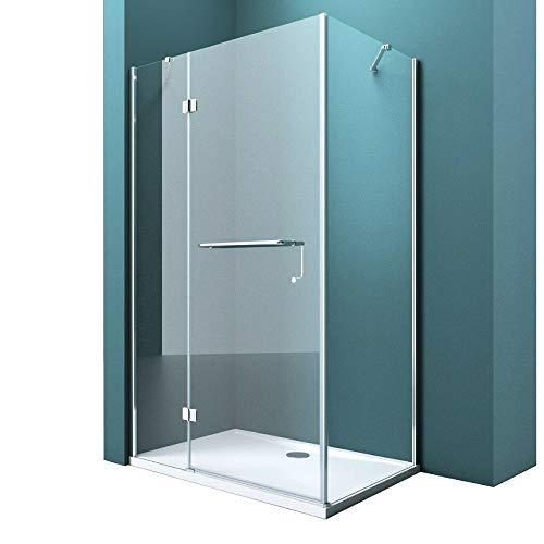 Duschtrennwand 100x130 cm ESG mit Lotus-Effekt & schmutzabweisender NANO Echtglas-Dusche R04k