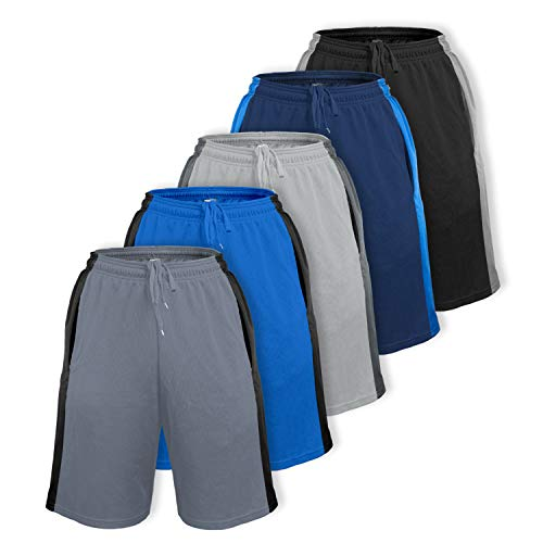 5 Pack] Men's Dry-Fit Active Athletic Shorts - Basketball Running Workout Training