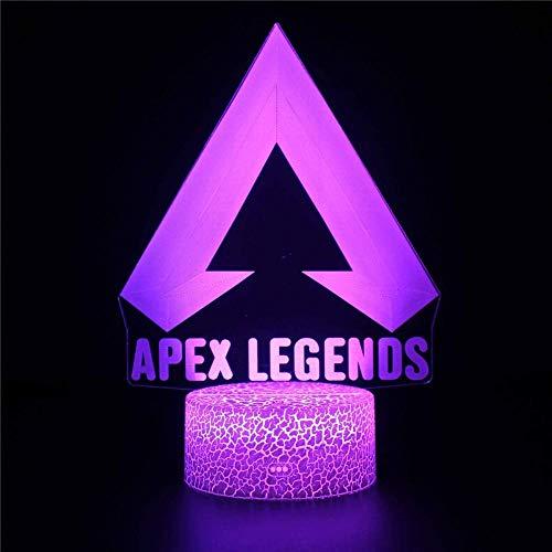 Lámpara Apex Legends 3D ilusión luces nocturnas para niños Anime lámpara de mesa con control remoto decoración del dormitorio de niños, cumpleaños creativos regalos de Navidad para niños niñas