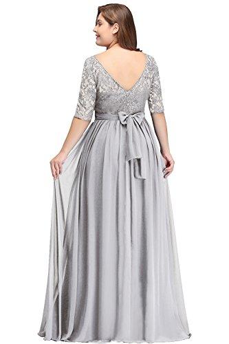 Misshow Damen Übergröße Abendkleid Spitze Chiffon mit Ärmel Elegant Lang Ballkleid , Silber, 46