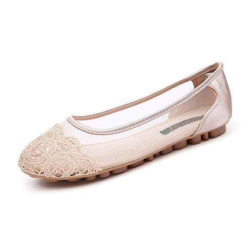 LYXIANG Ballerinas De Las Mujeres, Zapatos De Mujer Huecos De Encaje, Zapatos De Tela Viejos Beijing, Zapatos Planos Transpirables,B,41