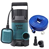 MYLEK 400w Submersible Electric Water Pump with 10m Layflat Hose for Clean or Dirty Water with Float Switch - for Floods, Pools, Gardens, Wells, Ponds & More