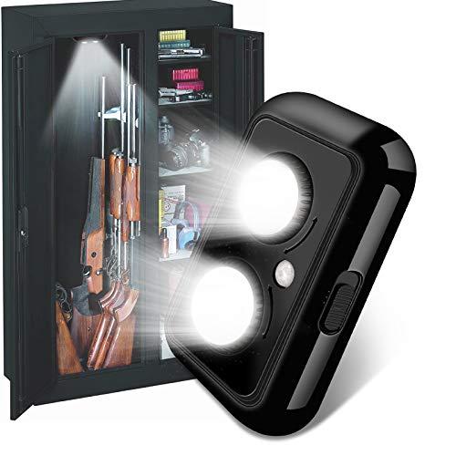 Gun Safe Light with Built-in PIR Motion Sensor, 2 Adjustable Led Lights Heads Pivot Independently for Directional Lighting Inside Your Safe, Battery Operated (Black)