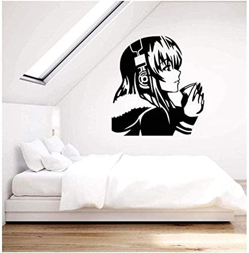 Lámpara De Pared De Vinilo Pretty Anime Girl Con Café Auriculares Albergue Juvenil Pegatinas De Arte Mural De Decoración Del Hogar 57X62Cm