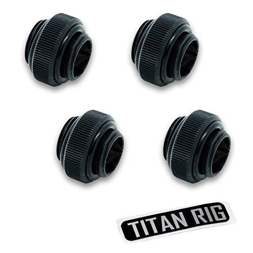 "EKWB EK-AF G1/4"" 6mm Male to Male Extender Fitting, Black, 4-Pack"