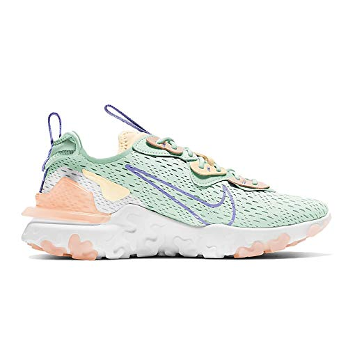 Nike NSW React Vision, Zapatillas para Correr Mujer, Verde Barely Green Purple Pulse Crimson Tint Pale Ivory White, 39 EU