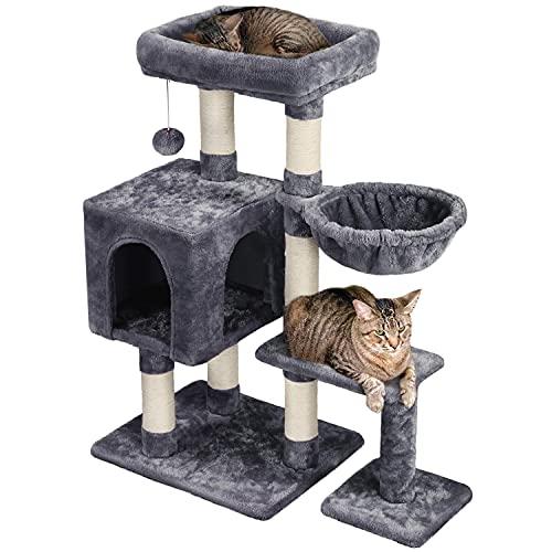 Yaheetech Árbol Rascador para Gatos 80x39.5x96 cm Torre para Gatos Juguete de Gatos de Sisal Natural con Nidos y Hamaca Gris Oscuro