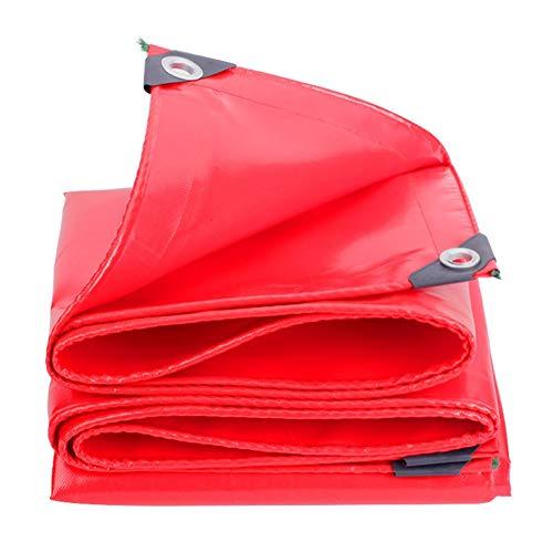 Bâches Rouges, 0.45mm d'épaisseur, imperméable, résistant aux Rayons UV, pourriture, déchirures et déchirures, Bâche à œillets et Bords renforcés (Size : 6m×6m)