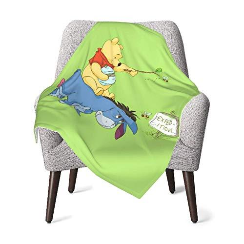 Ahdyr Manta de bebé Unisex Winnie Pooh Franela súper Suave o Manta mullida, Manta de recepción para bebés o recién Nacidos para Cuna, Manta de Invierno, Cochecito, Viajes, al Aire Libre, Decorativa