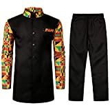 LucMatton Men's African 2 Piece Set Long Sleeve Button up Tops and Pants Traditional Dashiki Suit Black XX-Large
