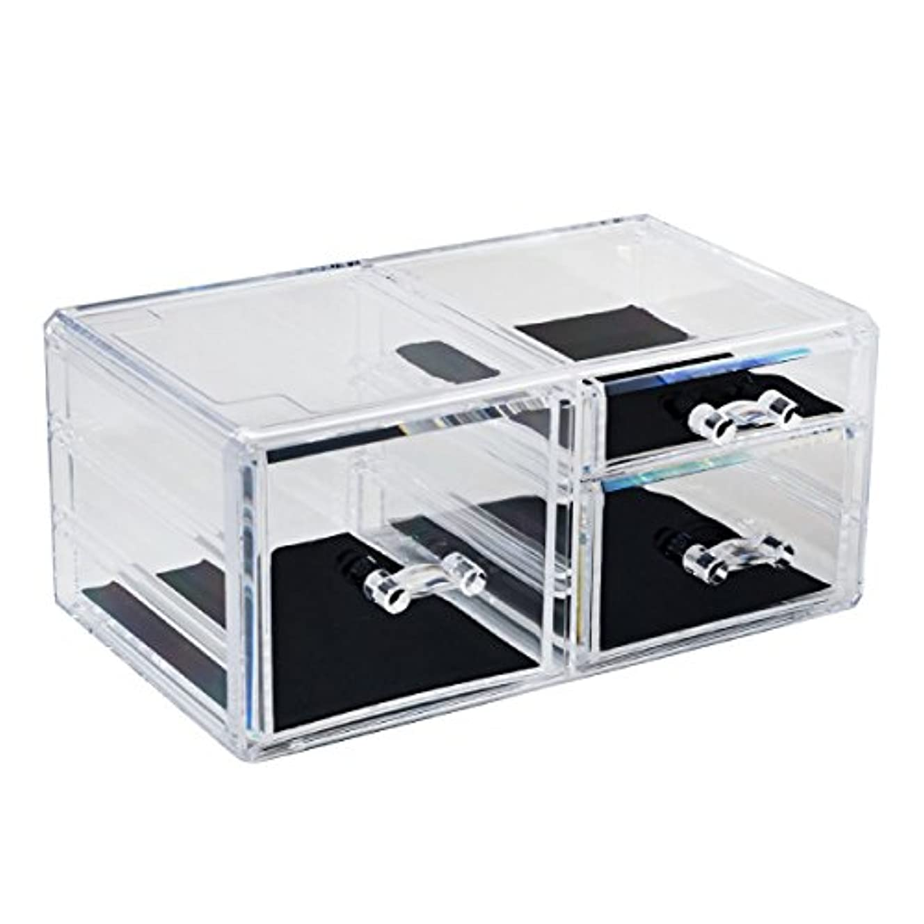 プロポーショナルぬれた特異性アクリルケース 収納ケース 深型引き出し×1 小引き出し×2 Mサイズ コスメボックス アクセサリー_87252