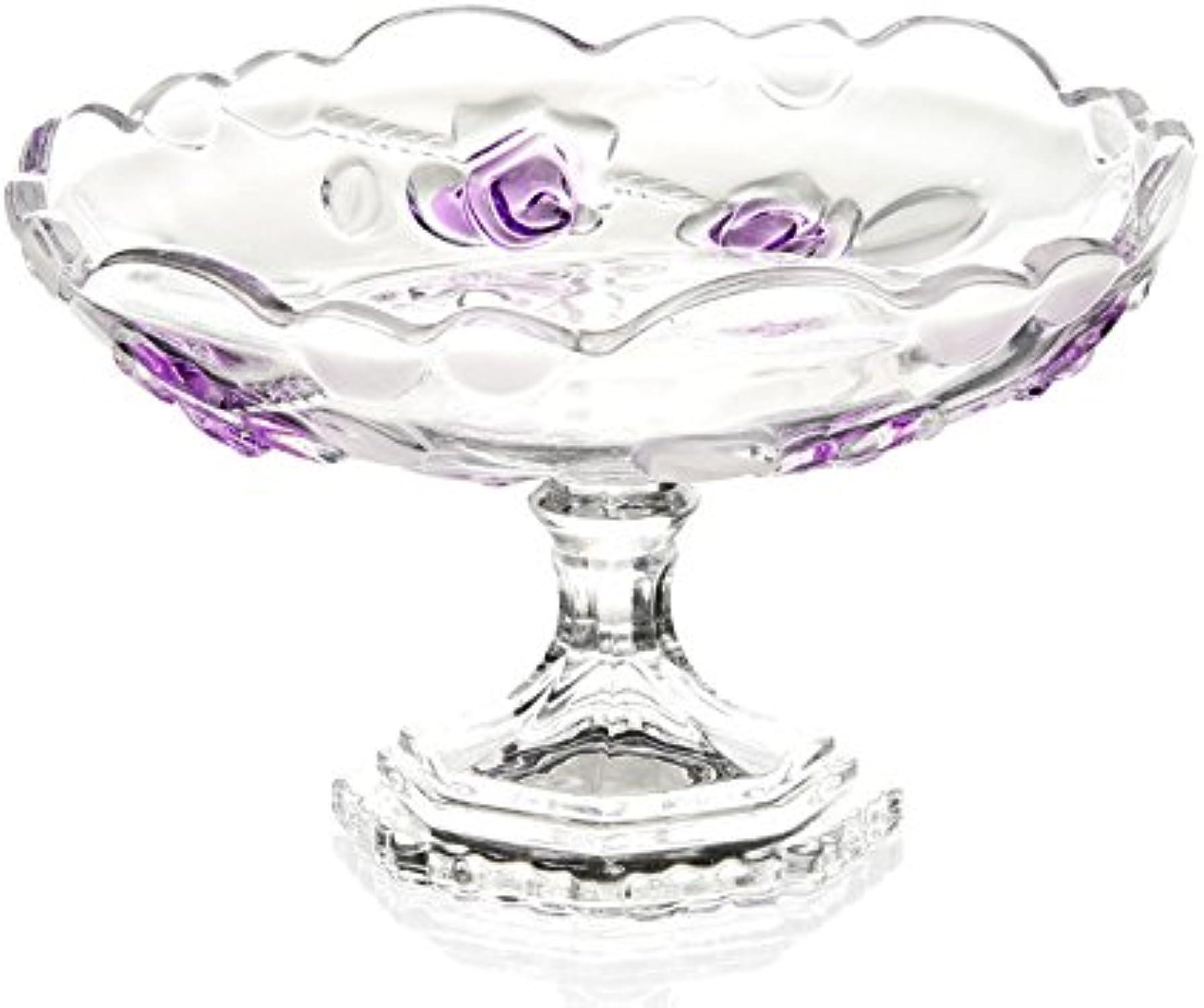 Assiettes- Plaque de verre haut de verre rose Plaque de verre haute européenne Plaque de snack Dessert Plat de fruits de mode moderne (Couleur   B)