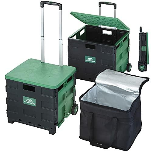 Dutch Mountains Faltbarer Einkaufswagen Set 3-TLG. - Faltbare Kiste 41 + 65 Ltr mit 22 Ltr Kühltasche - Einkaufskiste auf Rädern - Inklusive Deckel als Sitz - Multifunktional