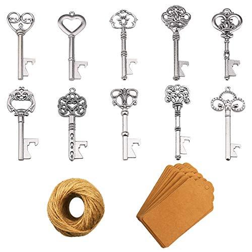 Apribottiglie chiave - 50 pezzi Apribottiglie chiave scheletro vintage con carta regalo Kraft e spago per bomboniere Decorazione rustica antica per feste (10 stili, argento)
