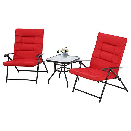 SUNCROWN Patio Padded Folding 3 Pieces Chair Set Adjustable Reclining Outdoor Furniture Metal Sling Chair with Coffee Table(Red)