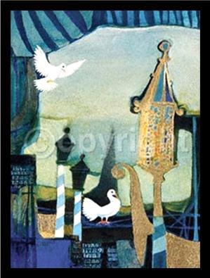 Buyartforless Work Gerahmtes Poster O Sole Mio (Venedig) von Rosina Wachtmeister, 20 x 13 cm, Kunstdruck auf Reisen, romantische Tauben, Blau